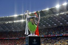 KYIV, UKRAINE - MAY 26, 2018: General view of the Champions League trophy before the match  UEFA Champions League Final between Re. Al Madrid and Liverpool at Royalty Free Stock Photos