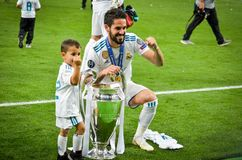 KYIV, UKRAINE - MAY 26, 2018: Isco and son  celebrate the victor. Y in the final of the UEFA Champions League 2018 in Kiev  match between Real Madrid and stock image