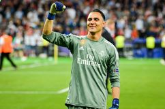 KYIV, UKRAINE - MAY 26, 2018: Keylor Navas of Real Madrid celebrate the victory in the final of the UEFA Champions League 2018 in. Kiev match between Real stock photos