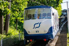 The Kiev Funicular  fron Poshtova square to Mykhailivska Square stock photos
