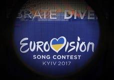 KYIV, UKRAINE - MAY,6 2017: -logo of Eurovision 2017 in Kyiv Ukraine. royalty free stock photos