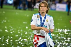 KYIV, UKRAINE - MAY 26, 2018: Luka Modric of Real Madrid celebrate the victory in the final of the UEFA Champions League 2018 in. Kiev match between Real Madrid royalty free stock photos