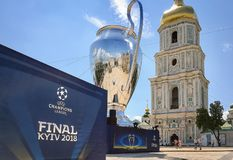 Kyiv, Ukraine - MAY 24, 2018 - 20 meters high model of the Champions League Cup on the Sophia square in Kyiv, Ukraine stock photography