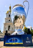Kyiv, Ukraine - May 24, 2018 - 20 meters high model of the Champions League Cup on the Sophia square in Kyiv, Ukraine royalty free stock photos