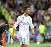 UEFA Champions League Final 2018 Real Madrid v Liverpool. KYIV, UKRAINE - MAY 26, 2018: Portrait of Real Madrid player Cristiano Ronaldo during the UEFA royalty free stock photos