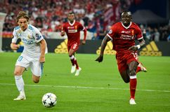 KYIV, UKRAINE - MAY 26, 2018: Sadio Mane (R) and Luka Modric during the 2018 UEFA Champions League final match between Real. Madrid and Liverpool in Kyiv at NSC stock photo
