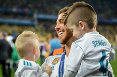 KYIV, UKRAINE - MAY 26, 2018: Sergio Ramos with son of Real Madr. Id celebrate the victory in the final of the UEFA Champions League 2018 in Kiev  match between Stock Image
