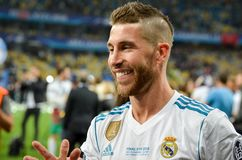 KYIV, UKRAINE - MAY 26, 2018: Sergio Ramos with son of Real Madr. Id celebrate the victory in the final of the UEFA Champions League 2018 in Kiev  match between Stock Photo