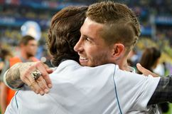 KYIV, UKRAINE - MAY 26, 2018: Sergio Ramos with son of Real Madr. Id celebrate the victory in the final of the UEFA Champions League 2018 in Kiev  match between Stock Photos