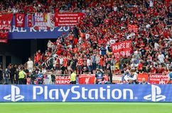 KYIV, UKRAINE - MAY 26, 2018: Sony Playstation logo on the backg. Round of Liverpool fans before the 2018 UEFA Champions League final match, Ukraine Stock Photography