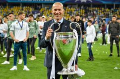 KYIV, UKRAINE - MAY 26, 2018: Zinedine Zidane of Real Madrid celebrate the victory in the final of the UEFA Champions League. 2018 in Kiev match between Real stock photography