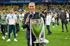 KYIV, UKRAINE - MAY 26, 2018: Zinedine Zidane of Real Madrid celebrate the victory in the final of the UEFA Champions League. 2018 in Kiev match between Real royalty free stock photo