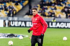 Kyiv, Ukraine - November 8, 2018: Hatem Ben Arfa before the start of UEFA Europa League match against Dynamo Kyiv at NSC Olympic. Stadium in Kyiv, Ukraine royalty free stock photography