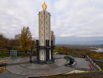 KYIV, UKRAINE-NOVEMBER 05, 2017: Memory candle the central part of Monument to Victims of Famine devoted to genocide victims of th. E Ukrainian people of 1932 Stock Photography