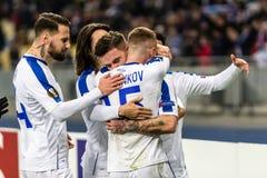 Kyiv, Ukraine - November 8, 2018: Players of Dynamo celebrates scoring a goal in UEFA Europa League match against Stade Rennais at royalty free stock photo