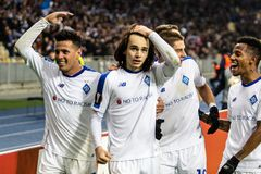 Kyiv, Ukraine - November 8, 2018: Players of Dynamo celebrates scoring a goal in UEFA Europa League match against Stade Rennais at stock image