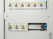 A residual-current device RCD, or residual-current circuit breaker RCCB, is a device that instantly breaks an electric circuit. KYIV, UKRAINE - November, 30 stock photo