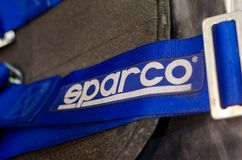 Kyiv, Ukraine - November 22, 2018: Sparco Racing Seat Belt Safety Harness stock images