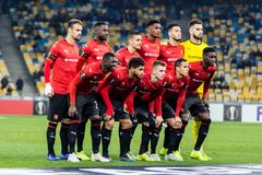 Kyiv, Ukraine - November 8, 2018: Stade Rennais team photo before the start of UEFA Europa League match against Dynamo Kyiv at NSC. Olympic stadium in Kyiv stock photography