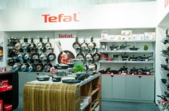 Kyiv, Ukraine - November 4, 2018: Tefal kitchenware in store for sale. Tefal kitchenware in store for sale royalty free stock images