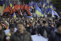 Kyiv, Ukraine - 14 October 2015:Activists and supporters of Ukrainian nationalist parties Stock Photography
