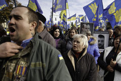 Kyiv, Ukraine - 14 October 2015:Activists and supporters of Ukrainian nationalist parties Stock Photos