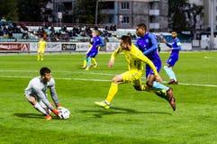 European Under-21 Chamionship match Ukraine - Netherlands. Kyiv, Ukraine - October 10, 2017: Artem Besedin in action against Denzel Dumfries. European Under-21 Stock Images