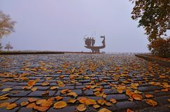 Autumn panorama near the Monument to the founders of Kyiv on the Dnieper embankment stock images