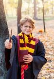 Boy in glasses stands in autumn park with gold leaves, holds wand in his hand royalty free stock photography