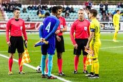 European Under-21 Chamionship match Ukraine - Netherlands. Kyiv, Ukraine - October 10, 2017: Captians Jeremiah St.Juste and Yurii Vakulko before the start of Stock Image
