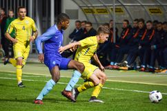 KYIV, UKRAINE - October 10, 2017: Denzel Dumfries (L)during the. Qualification match of the European Championship 2019 (U21) between Ukraine U21 vs Netherlands stock image