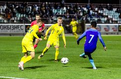 European Under-21 Chamionship match Ukraine - Netherlands. Kyiv, Ukraine - October 10, 2017: Justin Kluivert in action against Olexander Zinchenko and Valeriy Royalty Free Stock Images