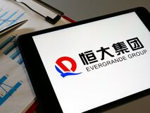 KYIV, UKRAINE - October 13, 2021. Logo of China Evergrande Group on the screen.