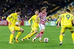 FIFA World Cup 2018 match Ukraine - Croatia. Kyiv, Ukraine - October 9, 2017: Luka Modric controls the ball during match. FIFA World Cup 2018 Qualifying round Stock Photography