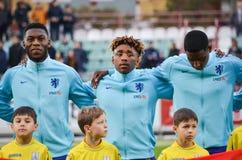 KYIV, UKRAINE - October 10, 2017: Netherlands Football player du. Ring the qualification match of the European Championship 2019 (U21) between Ukraine U21 vs royalty free stock images