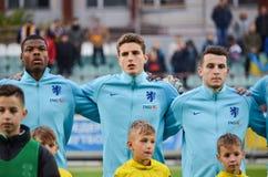 KYIV, UKRAINE - October 10, 2017: Netherlands Football player du. Ring the qualification match of the European Championship 2019 (U21) between Ukraine U21 vs royalty free stock image
