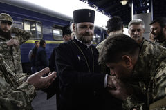 Kyiv, Ukraine - 14 October 2015: Ukrainian Orthodox chaplain of the Ukrainian Armed Forces Royalty Free Stock Photo