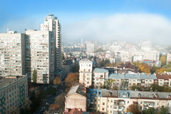 Kyiv, Ukraine. Panorama of city business center from high roof, early morning Stock Photography