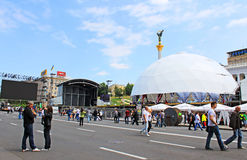 Kyiv, Ukraine, is preparing fan zone for EURO 2012 stock images