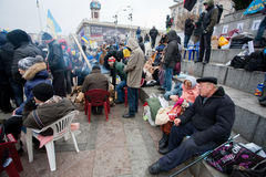 KYIV, UKRAINE: Senior couple of the demonstrators. Senior couple of the demonstrators who occupide Euro Maidan square & require the government to join EU and Royalty Free Stock Photography