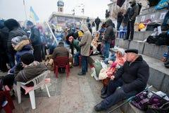 KYIV, UKRAINE: Senior couple of the demonstrators  Royalty Free Stock Photography