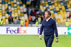 UEFA Europa League football match Dynamo Kyiv – Skenderbeu, Se. Kyiv, Ukraine - September 14, 2017: Aleksandr Khatskevich, head coach of Dynamo Kyiv during Stock Image