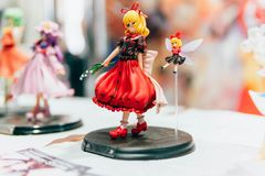 KYIV, UKRAINE - SEPTEMBER 23, 2018: Anime figurines at Comic Con. Ukraine convention at Kyiv or Kiev stock photography