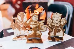 KYIV, UKRAINE - SEPTEMBER 23, 2018: Anime figurines at Comic Con. Ukraine convention at Kyiv or Kiev stock photo