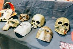 KYIV, UKRAINE - SEPTEMBER 22, 2018: Fake skulls at Comic Con. Ukraine convention at Kyiv or Kiev stock image