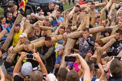 Public race with obstacles. Kyiv, Ukraine 2017 - September 2. A group of people are preparing to start in a public race with obstacles. Autumn royalty free stock photography