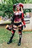 KYIV, UKRAINE - 9. SEPTEMBER 2018: Harley Quinn-cosplayer Aufstellung stockfotos