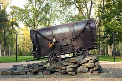 KYIV, UKRAINE - SEPTEMBER 25, 2017: Monument `The Gypsy wagon` to the Roma people executed by Nazi in 1940-1945 stock photos