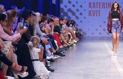 Ukrainian Fashion Week SS19: collection by KATERINA KVIT. KYIV, UKRAINE - SEPTEMBER 3, 2018: People watch the Fashion Show by designer KATERINA KVIT as part of stock photography