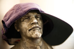 Funny bust of Lenin with cap Stock Image